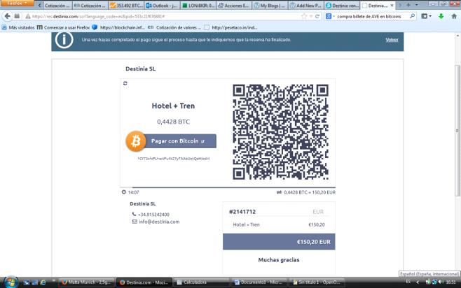 Destinia con Bitcoins