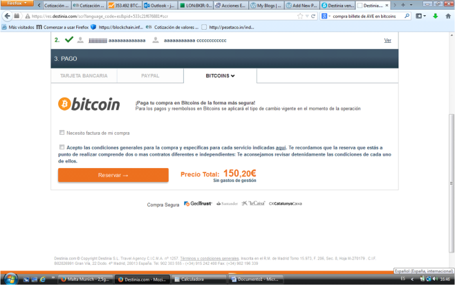 Destinia y Bitcoins2