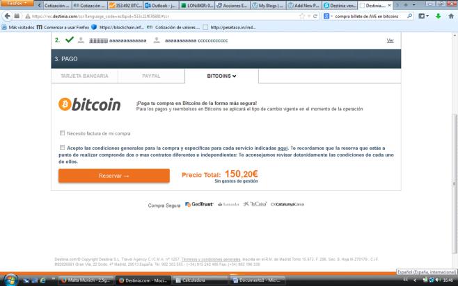 Destinia y Bitcoins2